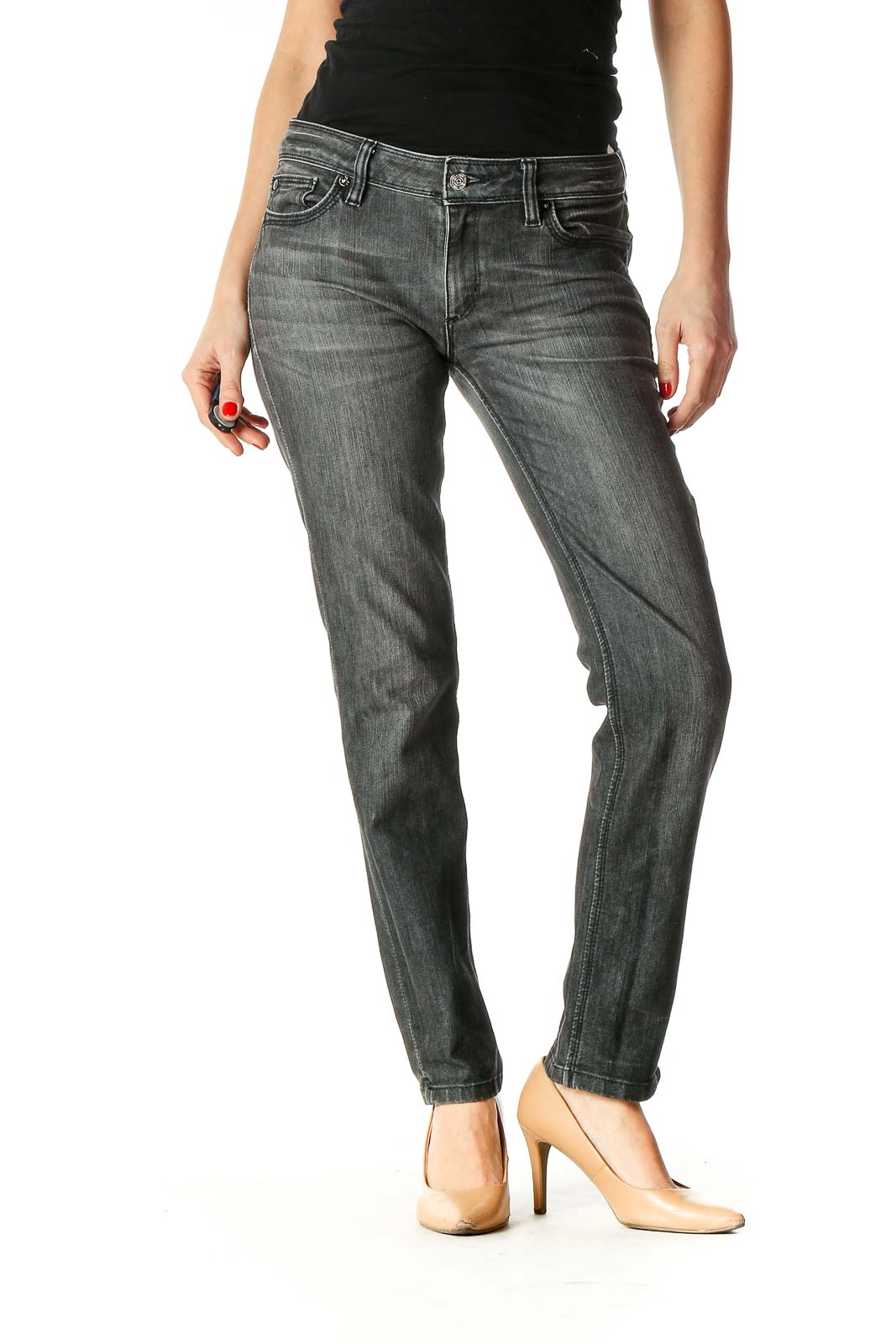 Gray Casual Straight Leg Jeans Front