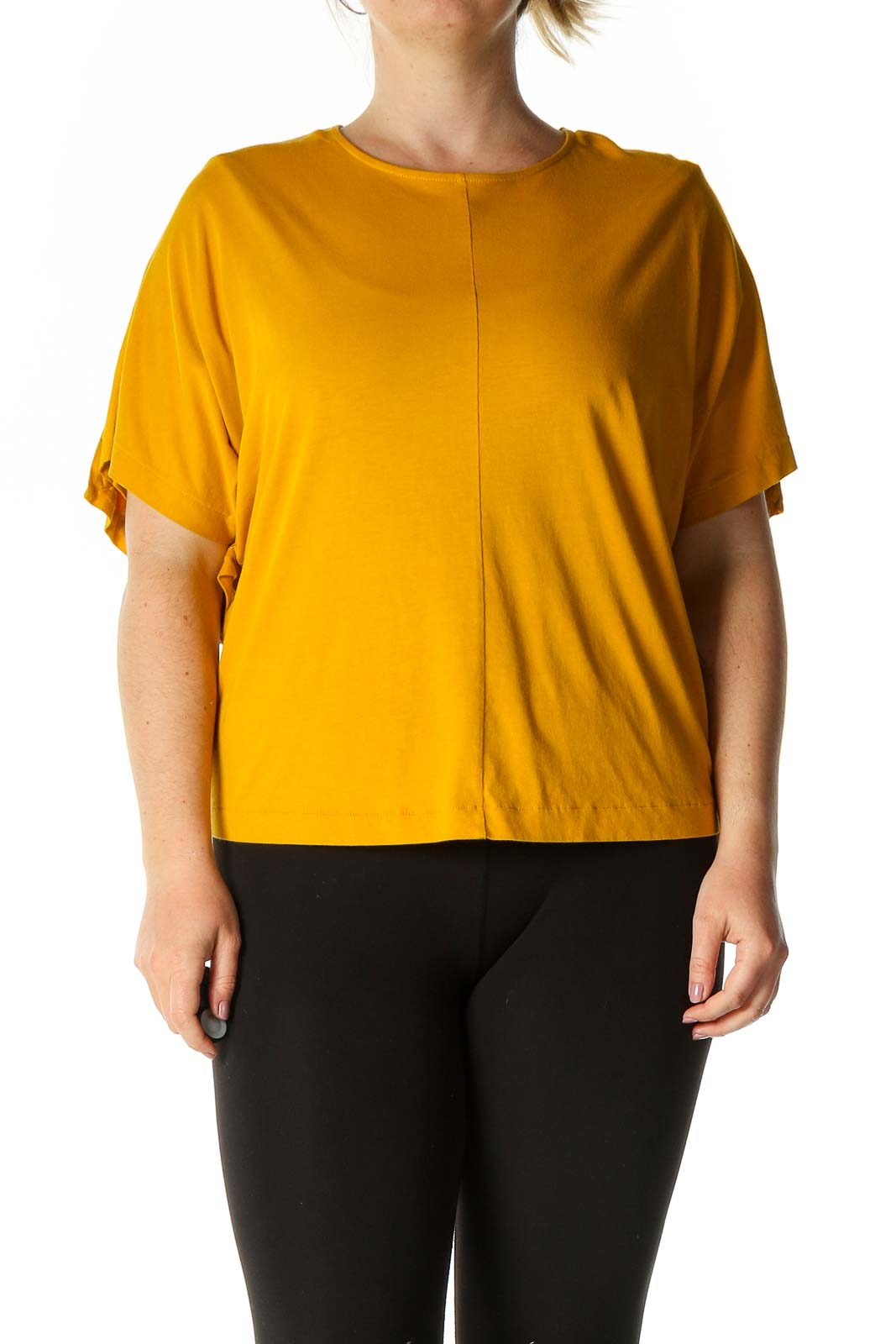 Yellow Solid Casual Blouse Front