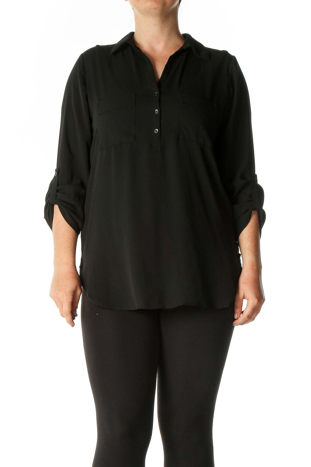 Black Solid Casual Polo Shirt Front
