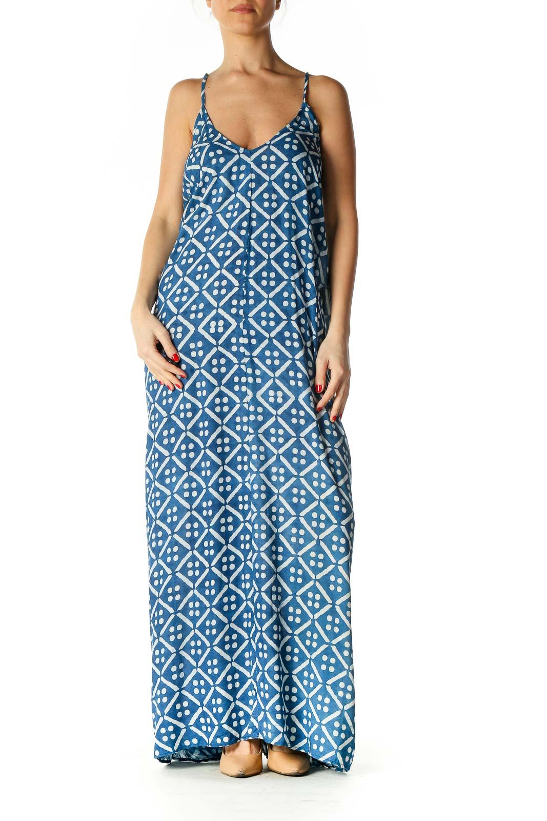 Blue Geometric Print Bohemian Column Dress Front