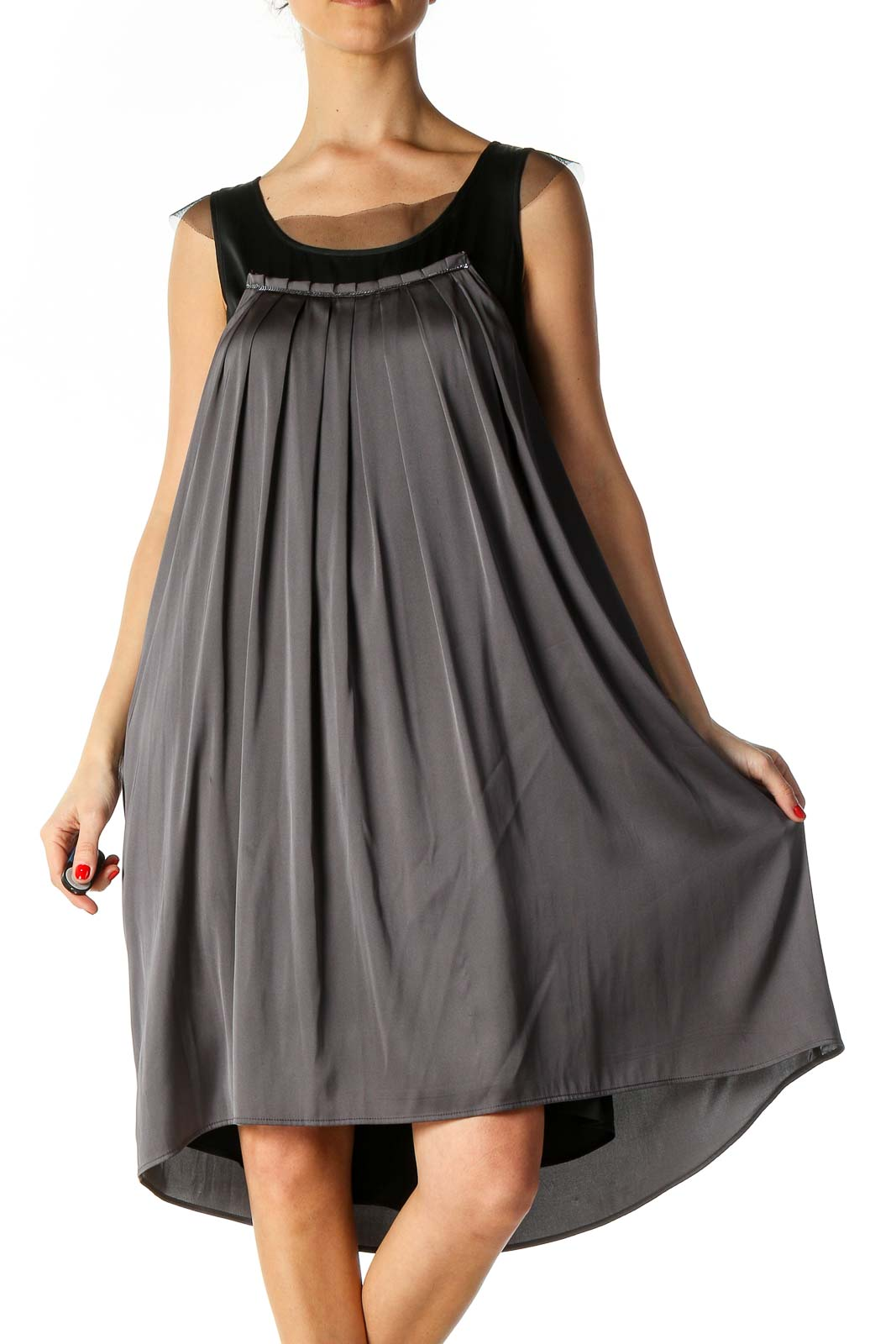 Gray Solid Retro Dress Front