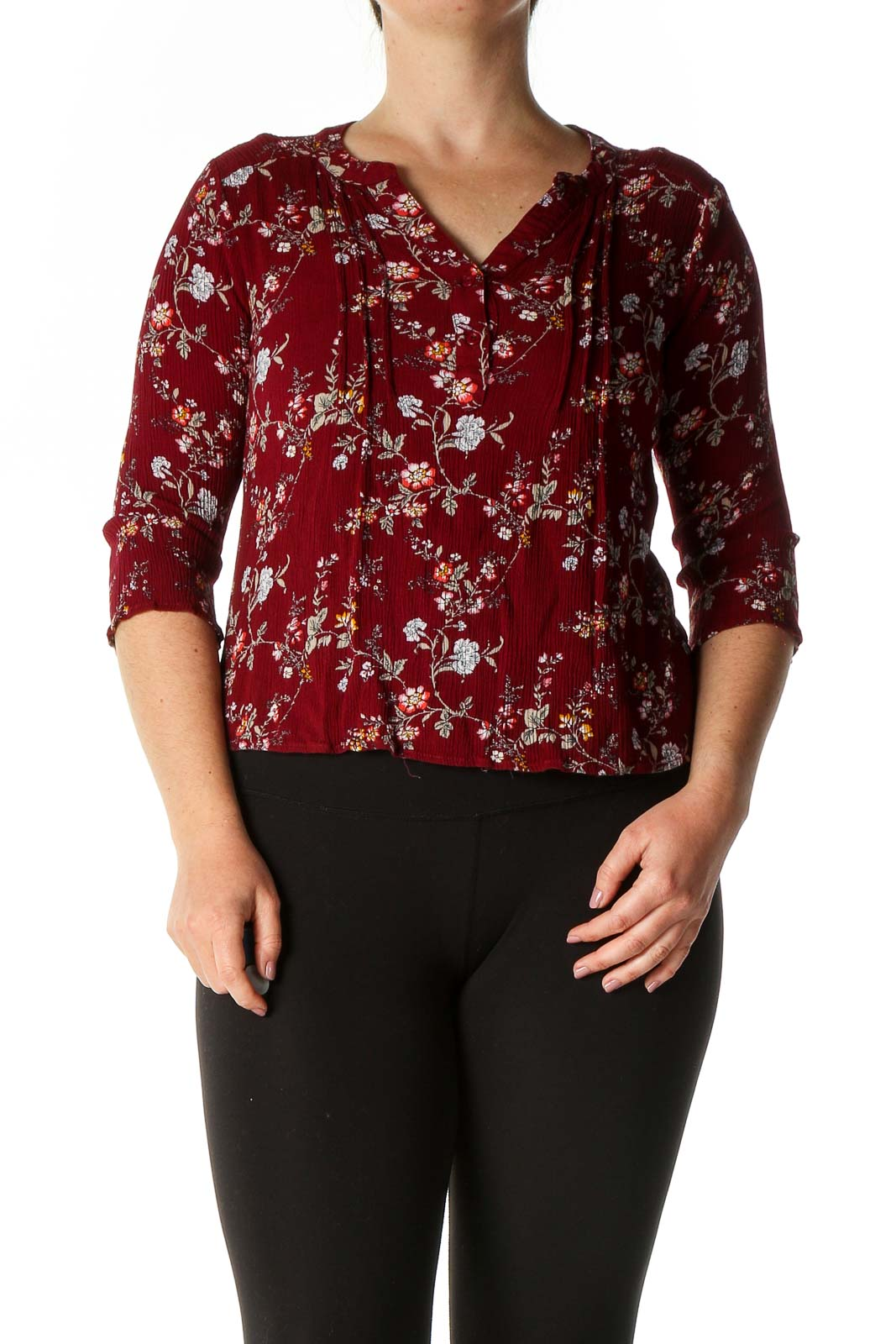 Brown Casual Blouse Front