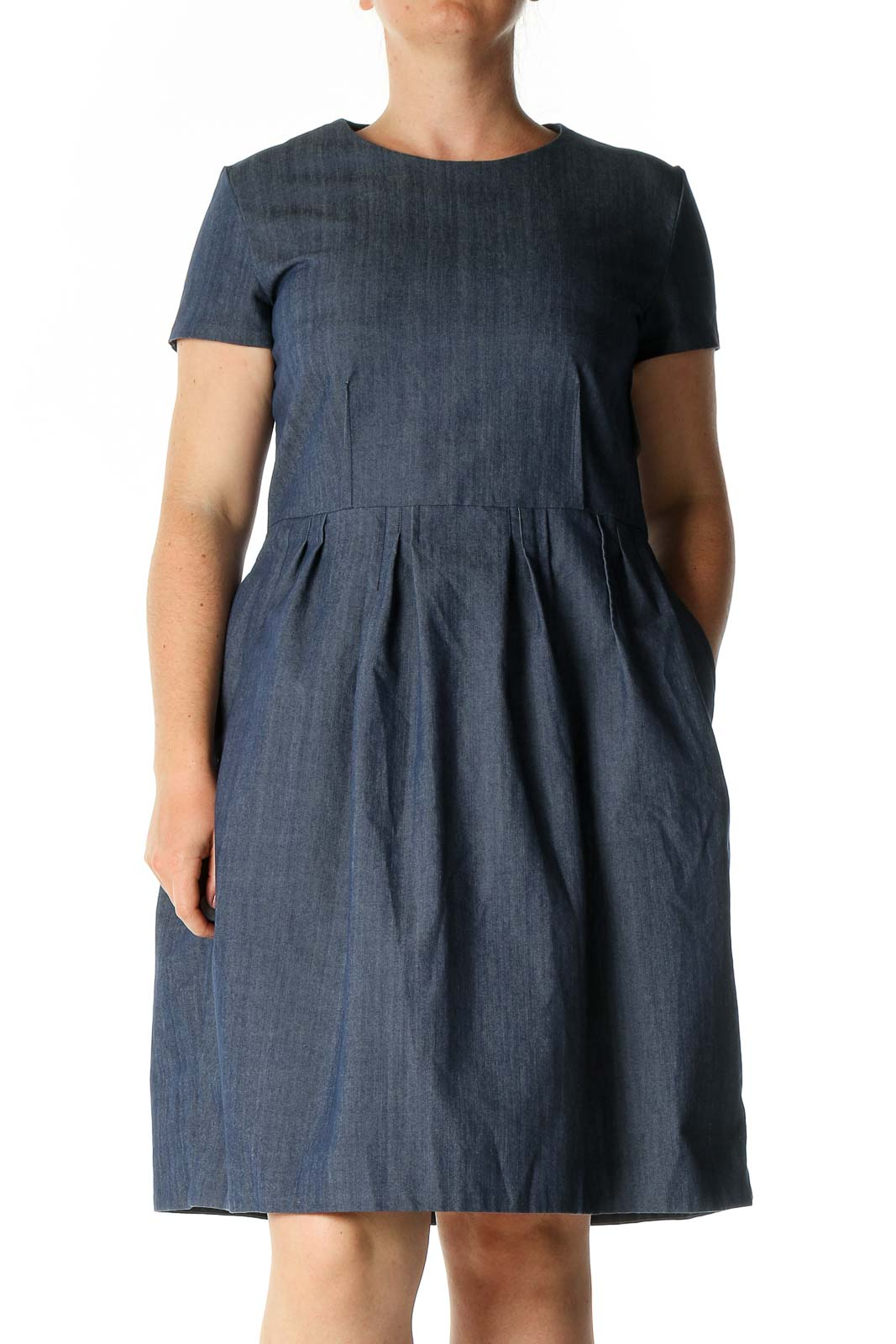 Gray Solid Casual A-Line Dress Front
