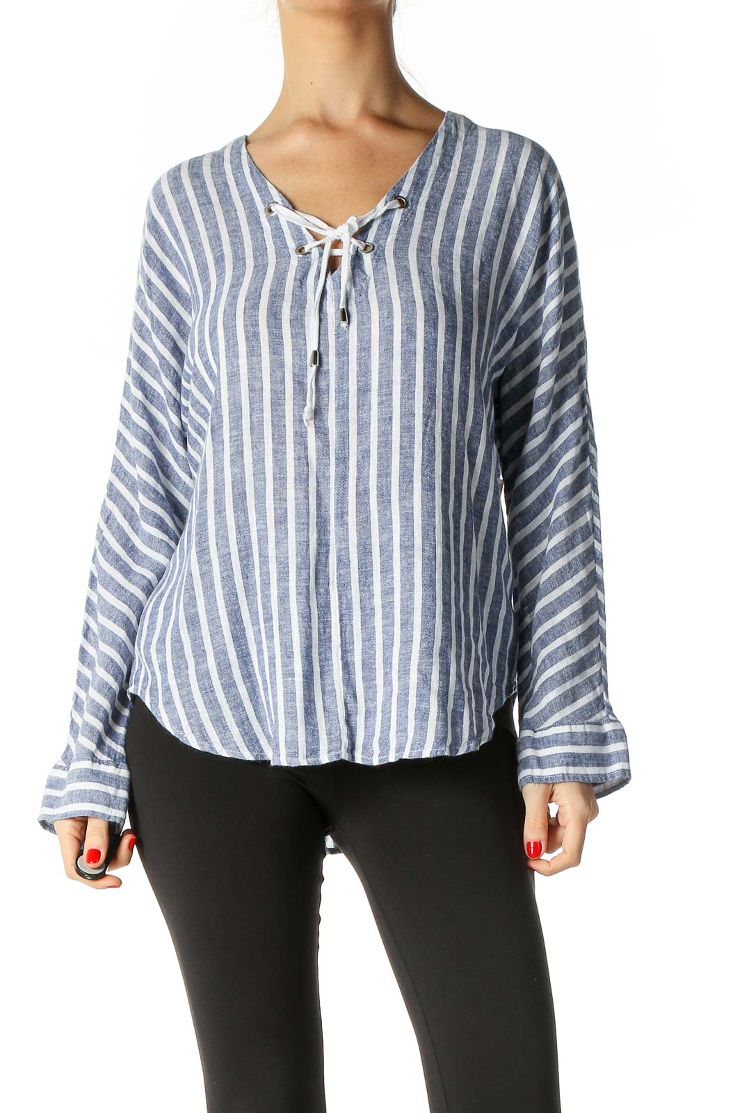 Gray Striped Casual Blouse Front