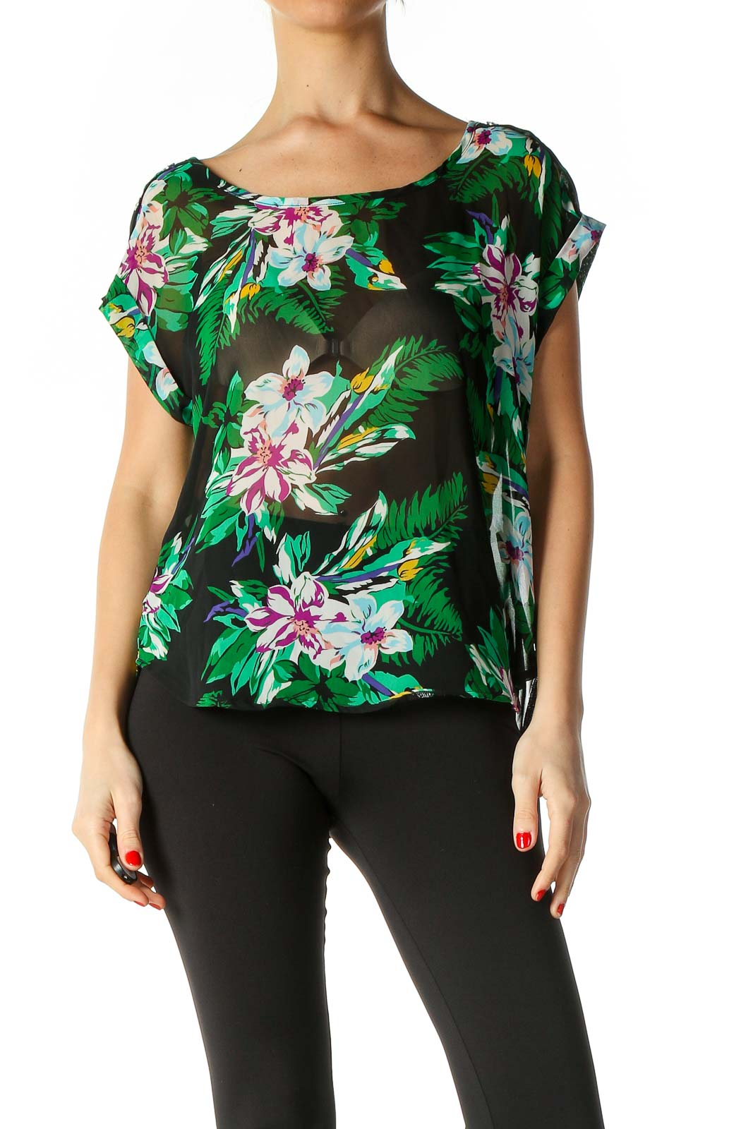 Black Casual Blouse Front