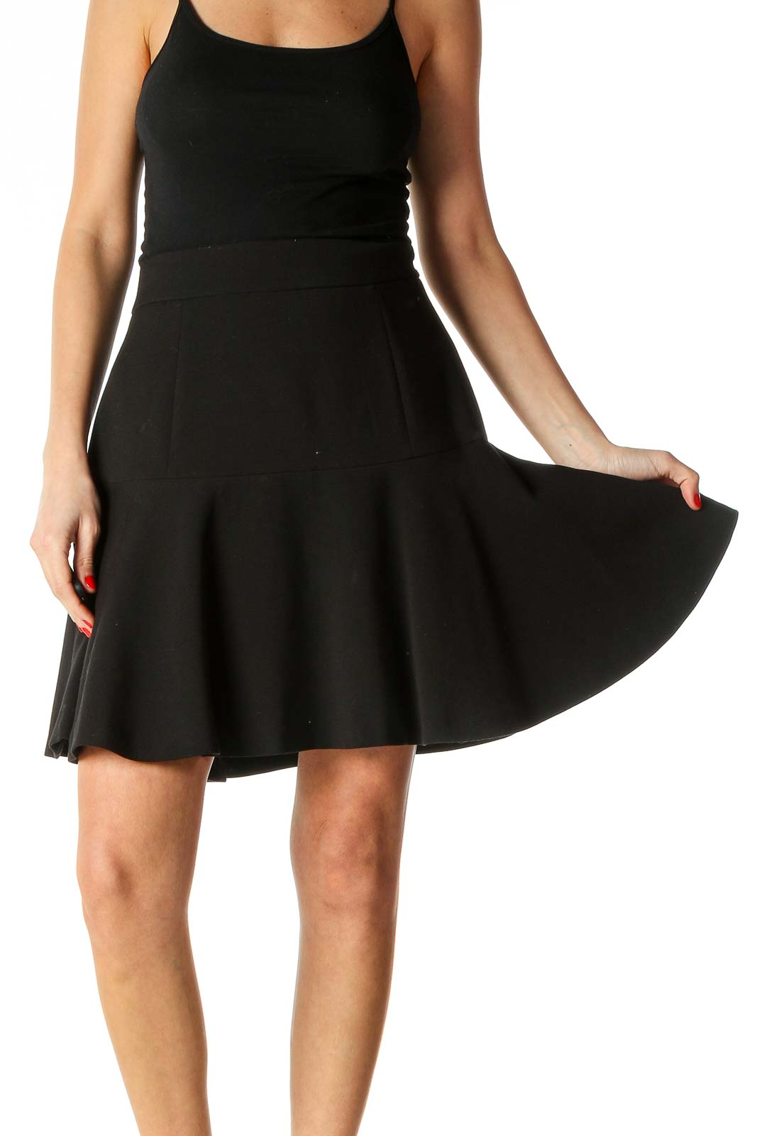 Black Solid Casual A-Line Dress Front