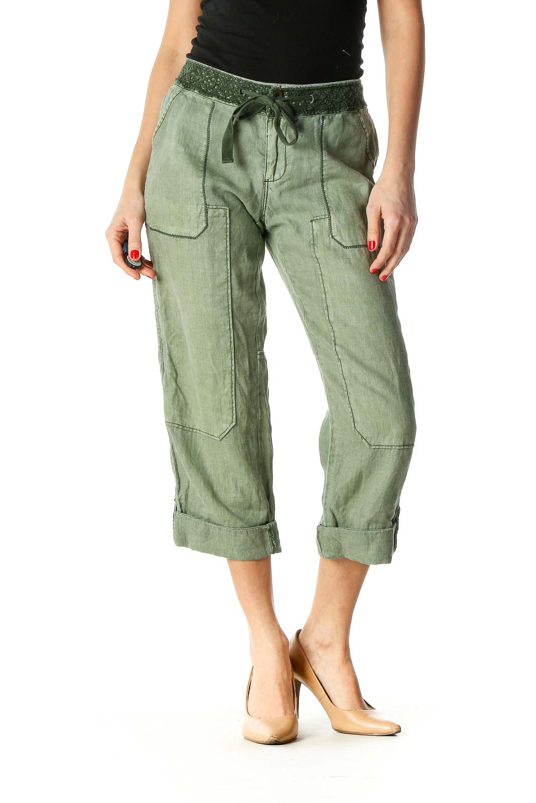 Green Casual Wide Leg Jeans Front