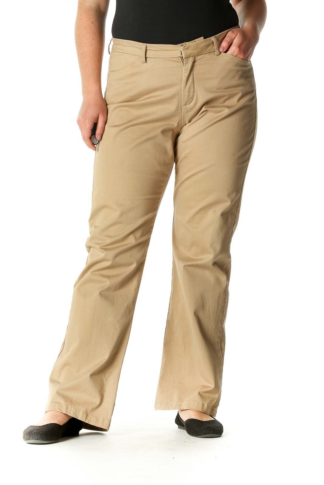 Beige Solid Trousers Front