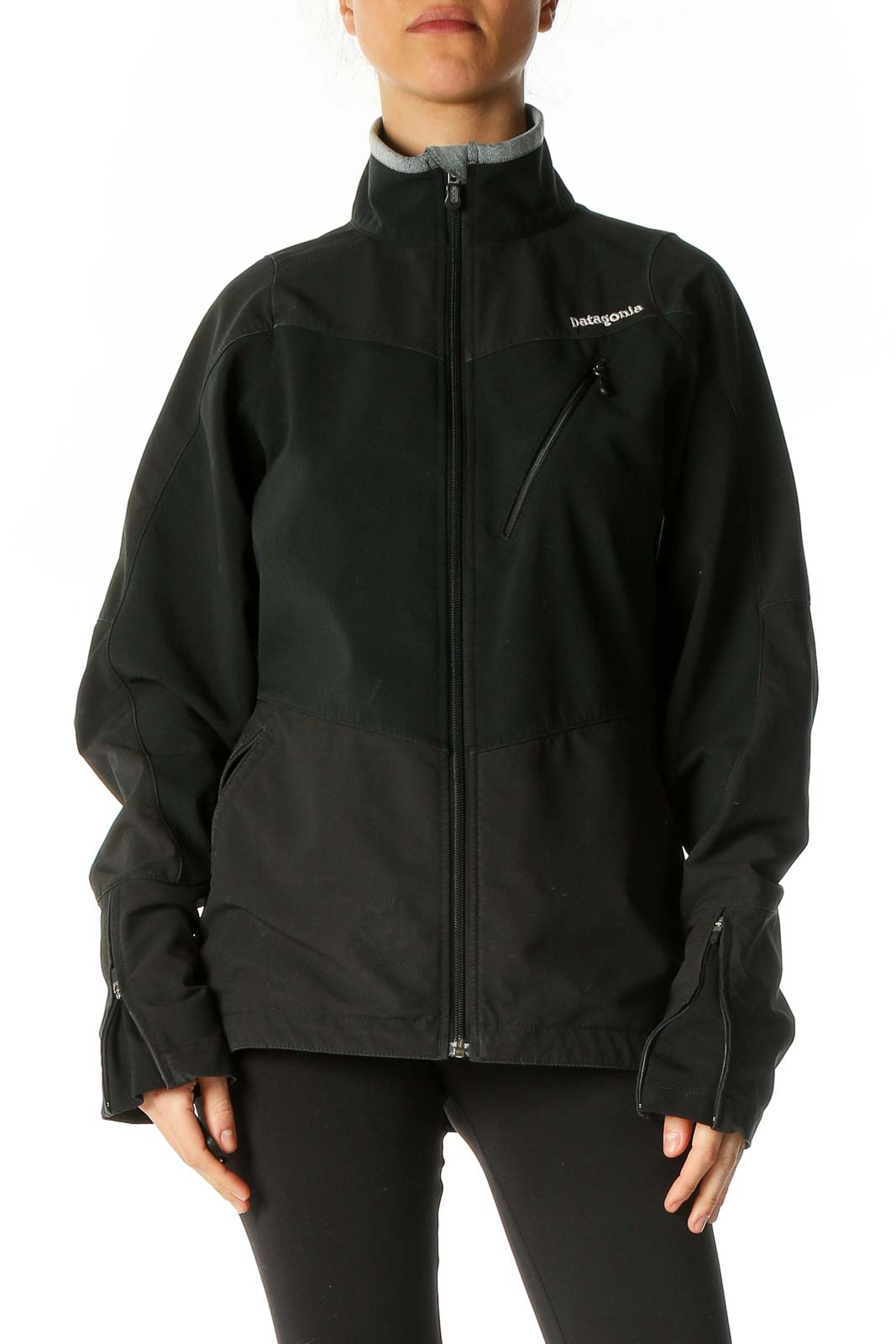 Black Windbreaker Jacket Front