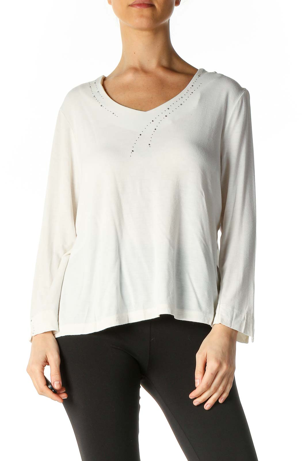 White Casual Brunch Blouse Front