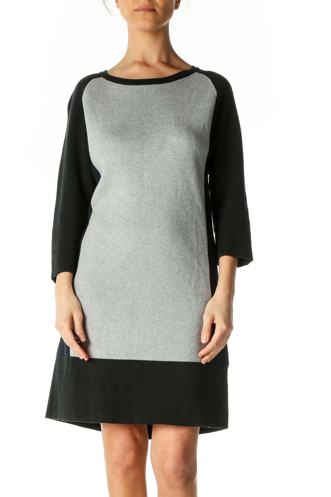 Gray Solid Shift Dress Front
