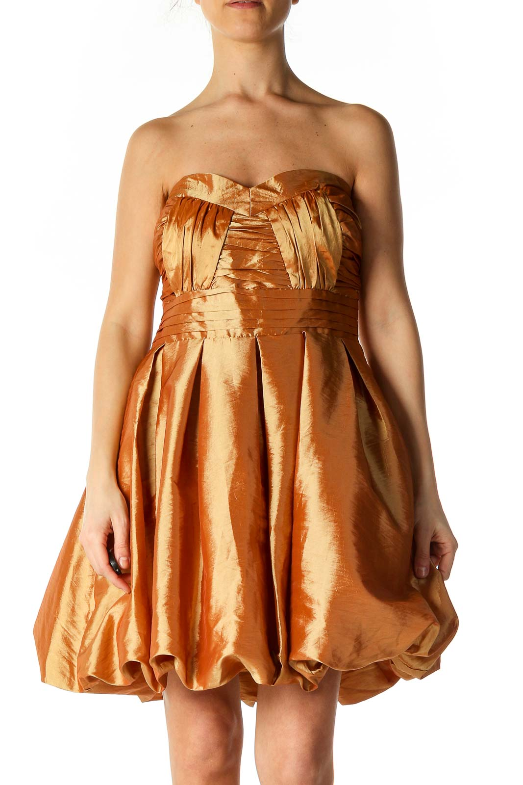 Brown Solid Retro A-Line Dress Front