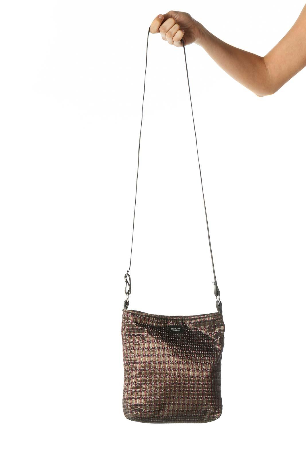 Brown Texture Crossbody Bag Front