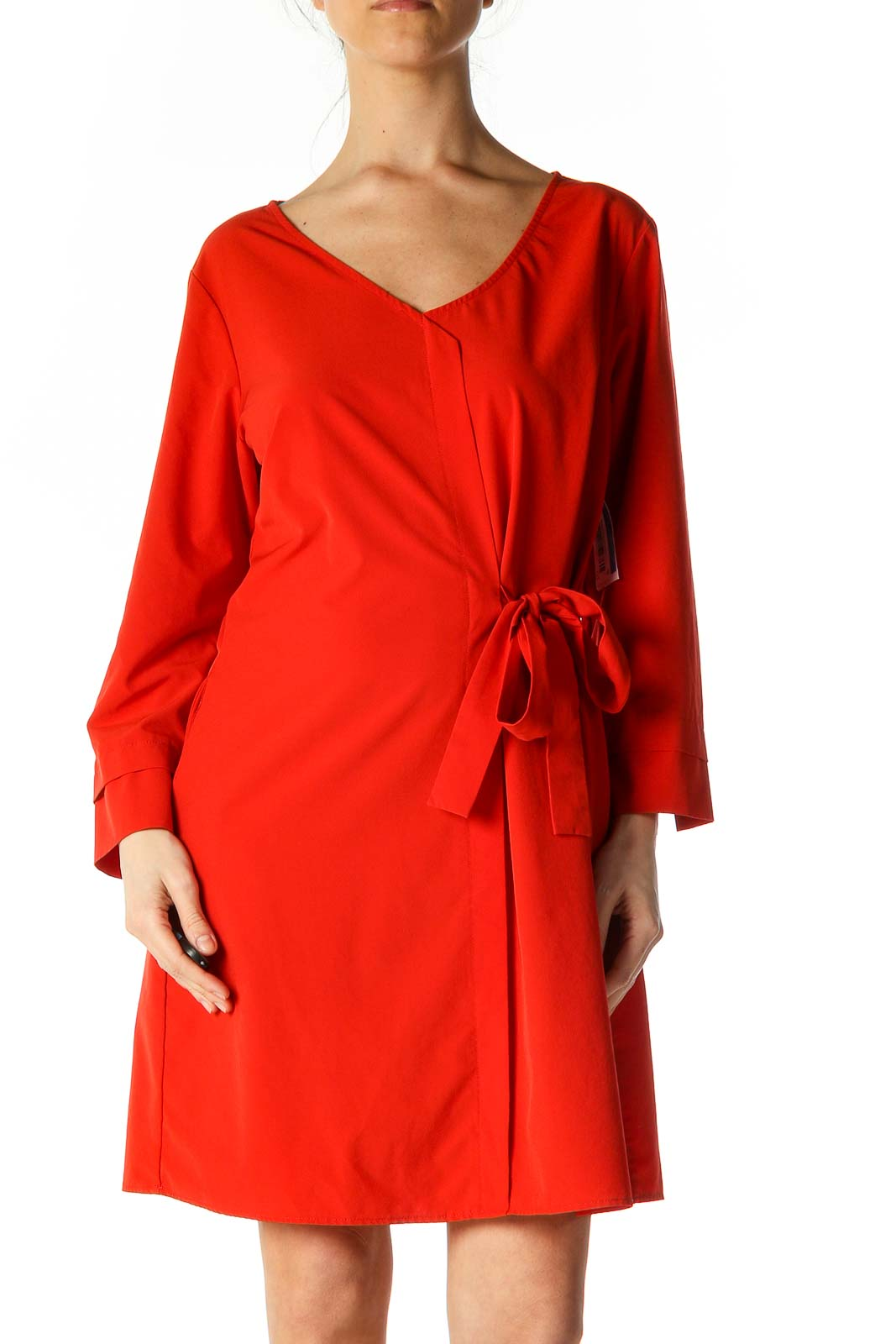 Red Solid Casual A-Line Dress Front