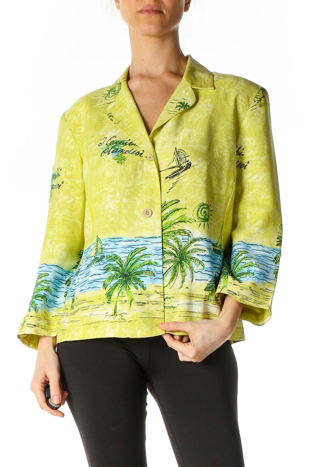 Yellow Casual Print Blazer Front