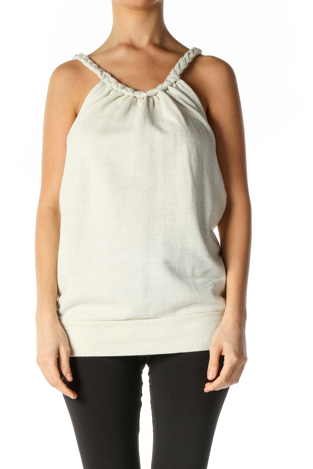 White Texture Casual Blouse Front