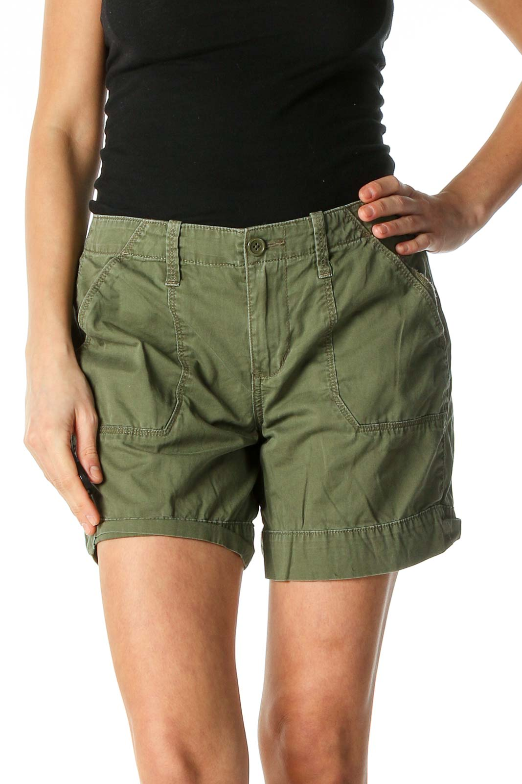 Green Solid Casual Shorts Front