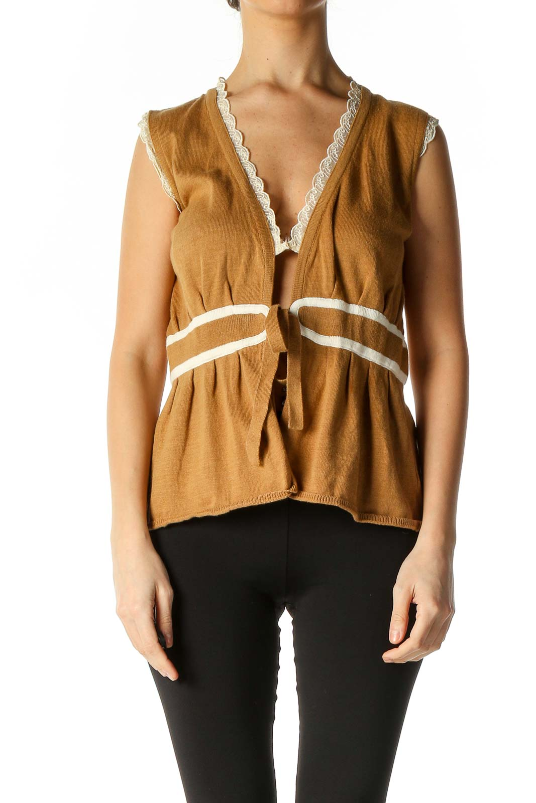 Brown Solid Retro Blouse Front