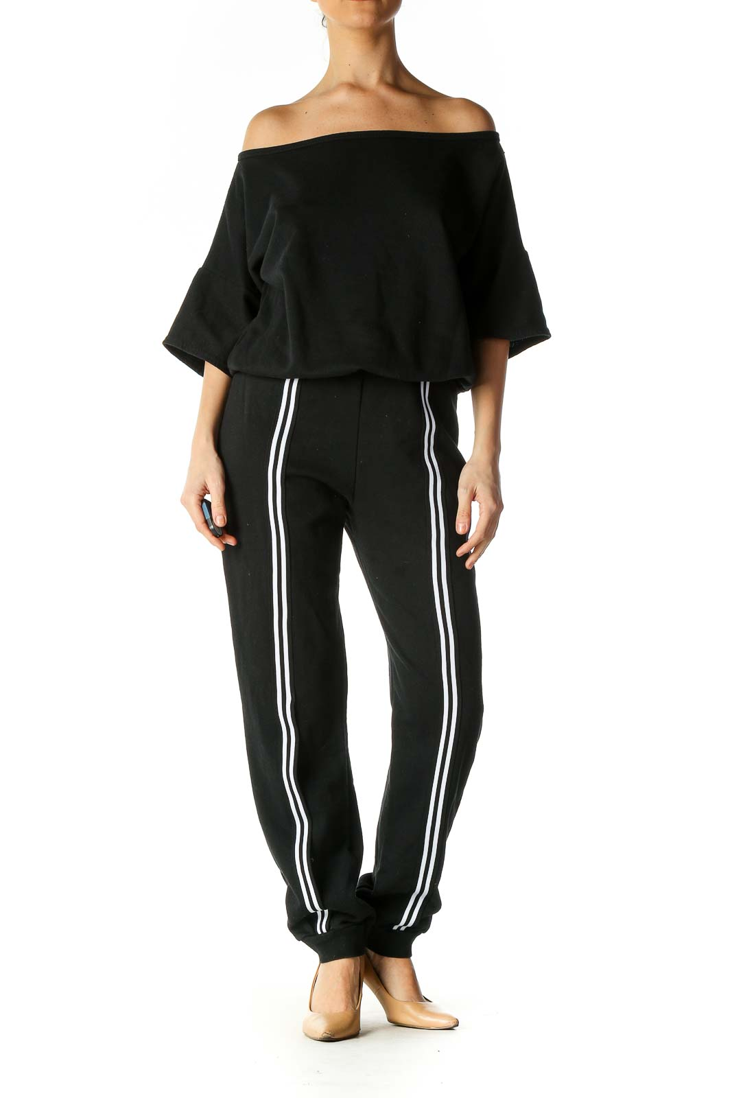 Black Solid Casual Jumpsuit Front