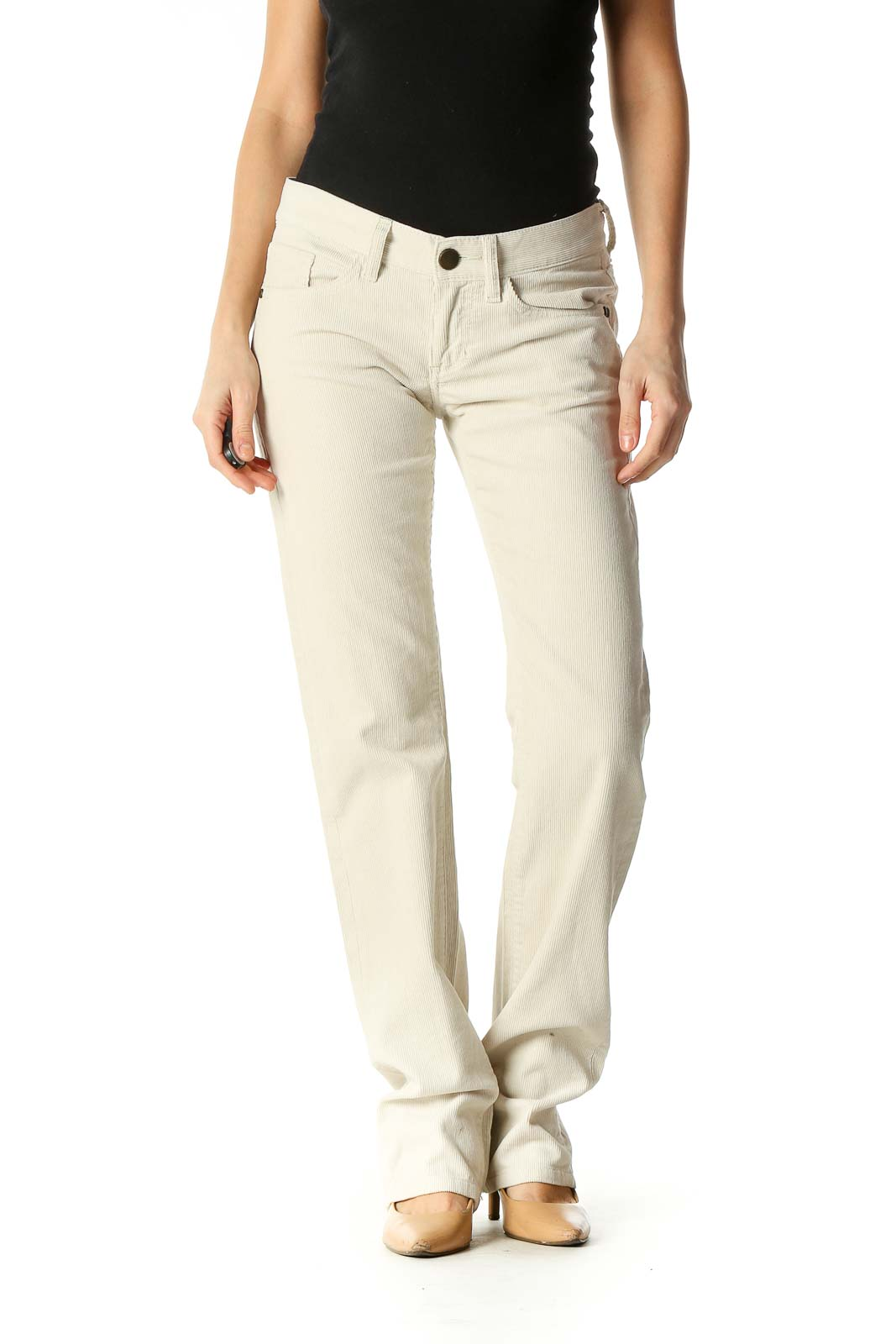 Beige Casual Straight Leg Jeans Front