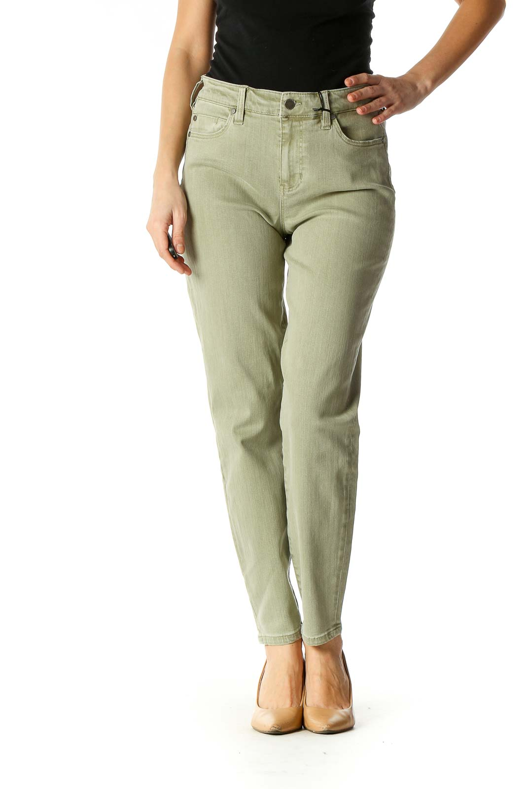 Green Casual Straight Leg Jeans Front