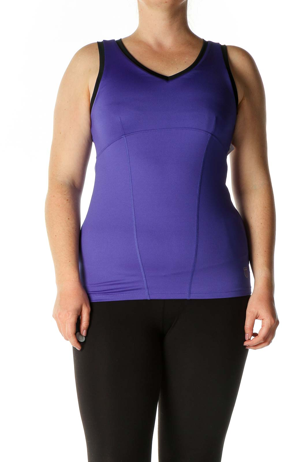 Purple Solid Casual Tank Top Front