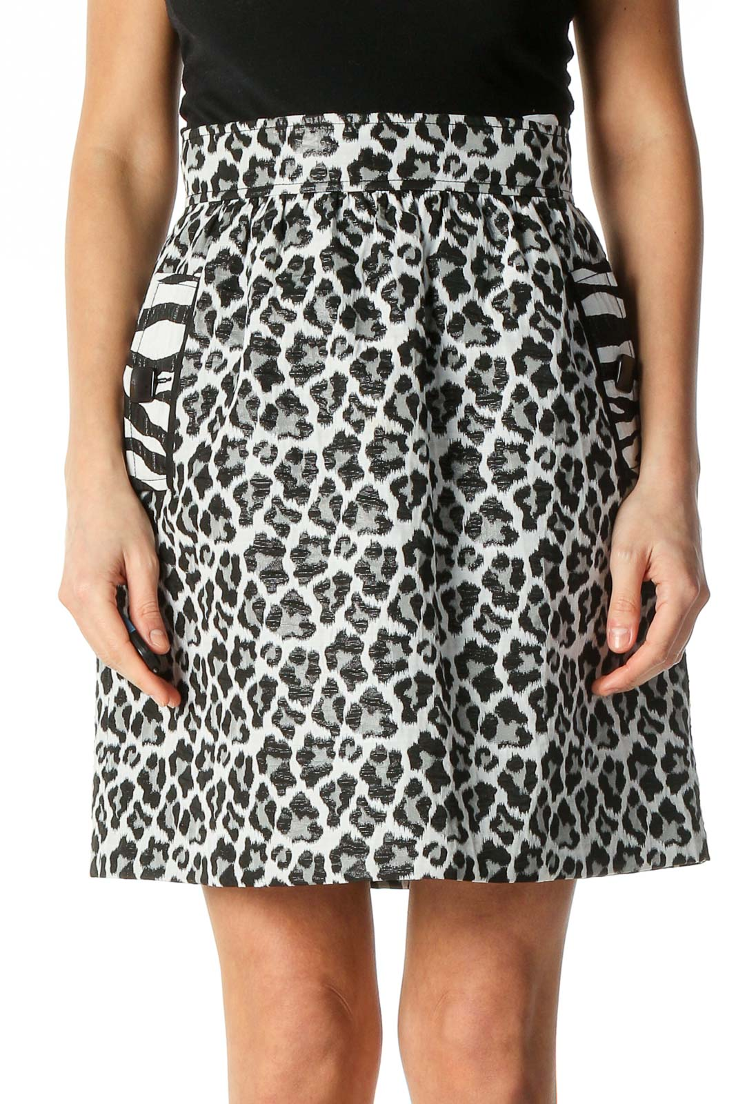 White Animal Print Brunch A-Line Skirt Front