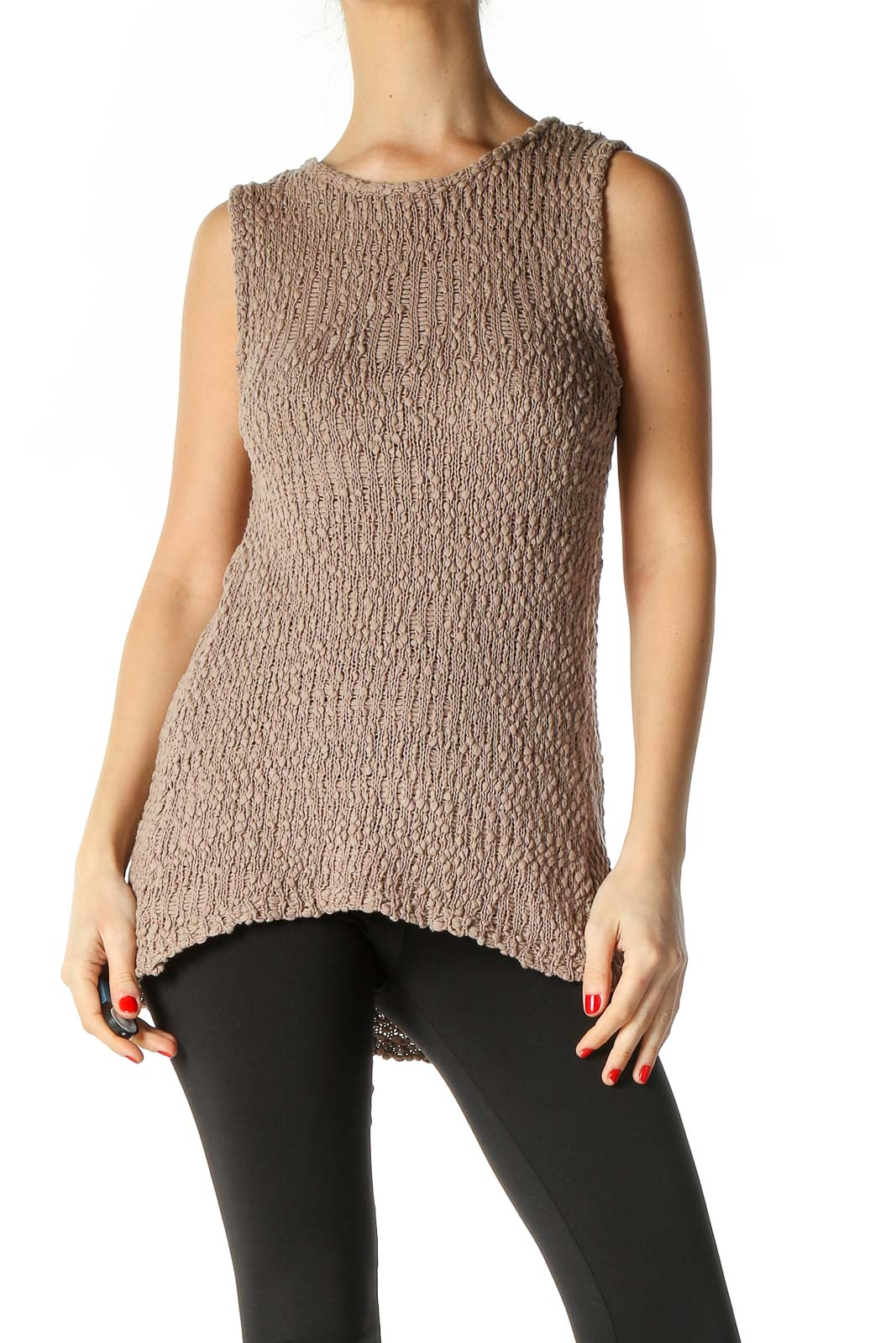 Beige Textured Blouse Front