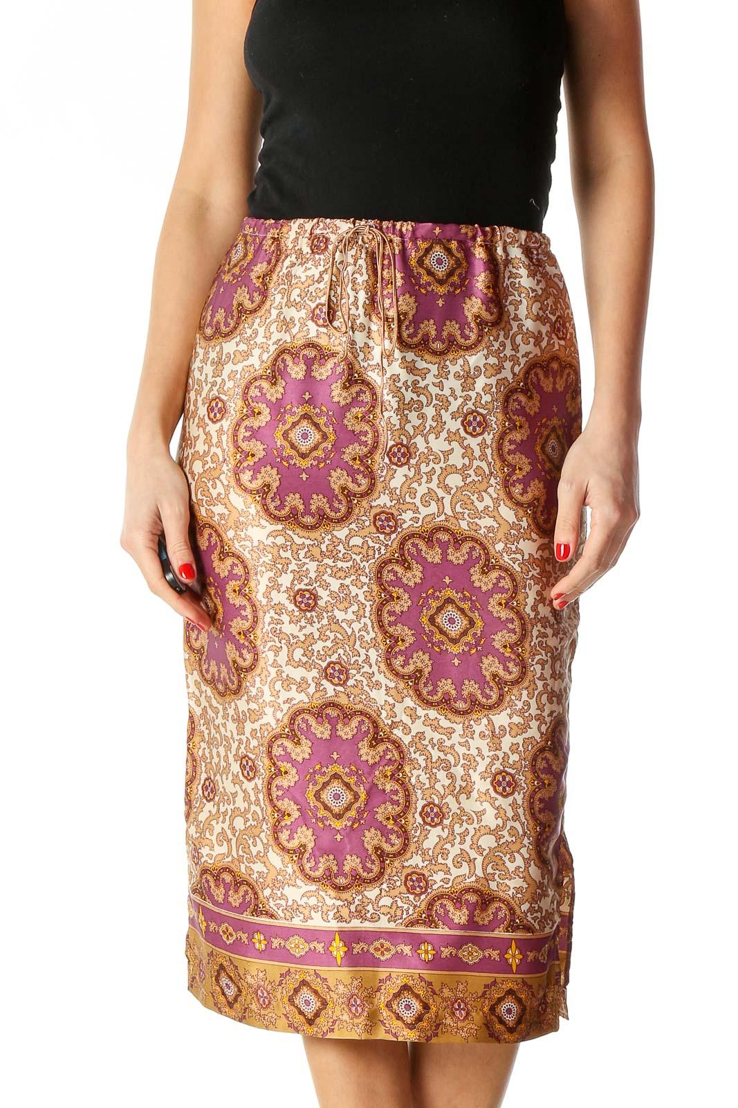 Beige Paisley Bohemian Straight Skirt Front