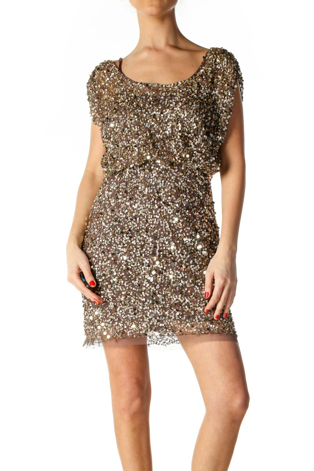 Brown Sequin Cocktail A-Line Dress Front