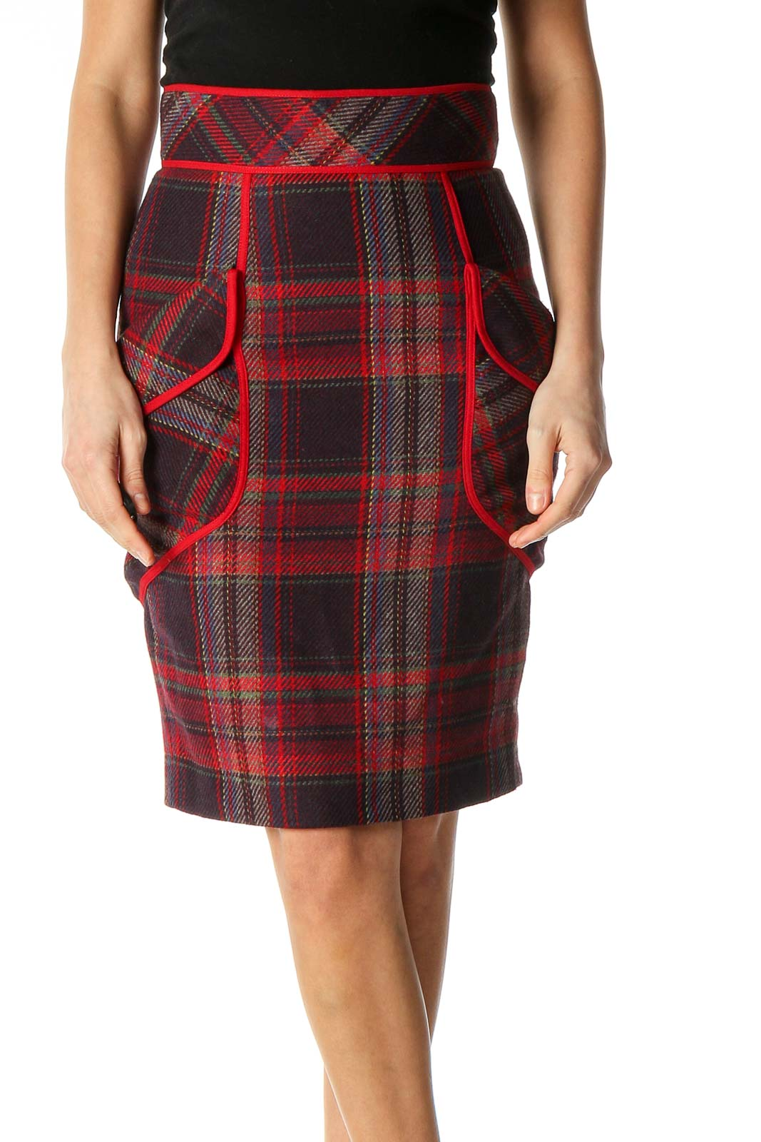 Brown Checkered Classic Straight Skirt Front