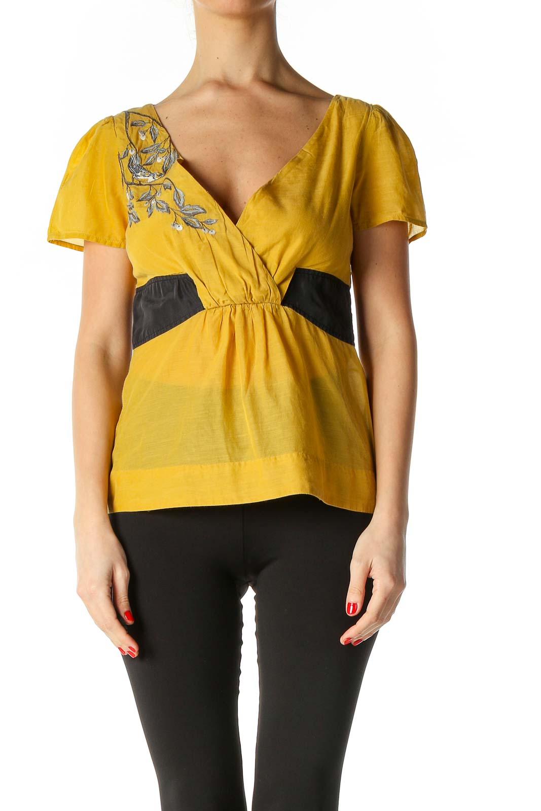 Yellow Solid Brunch Blouse Front
