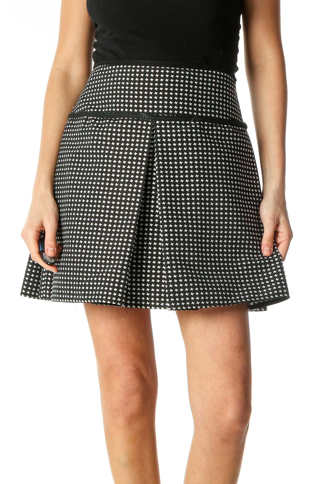 Black Houndstooth Chic A-Line Skirt Front