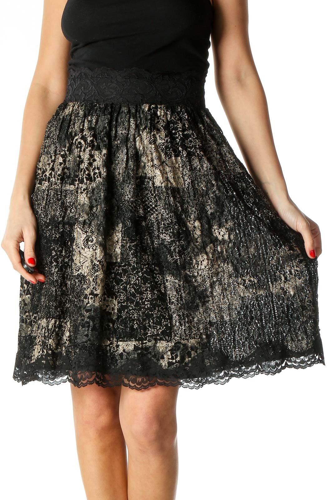 Black Print Retro Flared Skirt Front