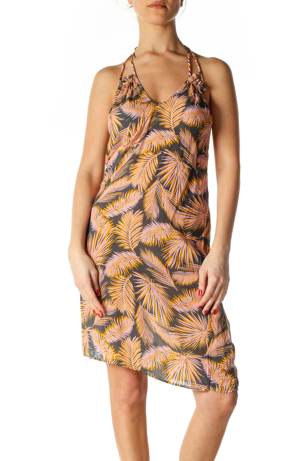 Beige Tropical Print Bohemian Sheath Dress Front