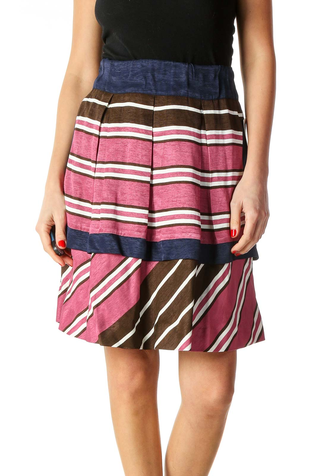 Pink Checkered Chic A-Line Skirt Front
