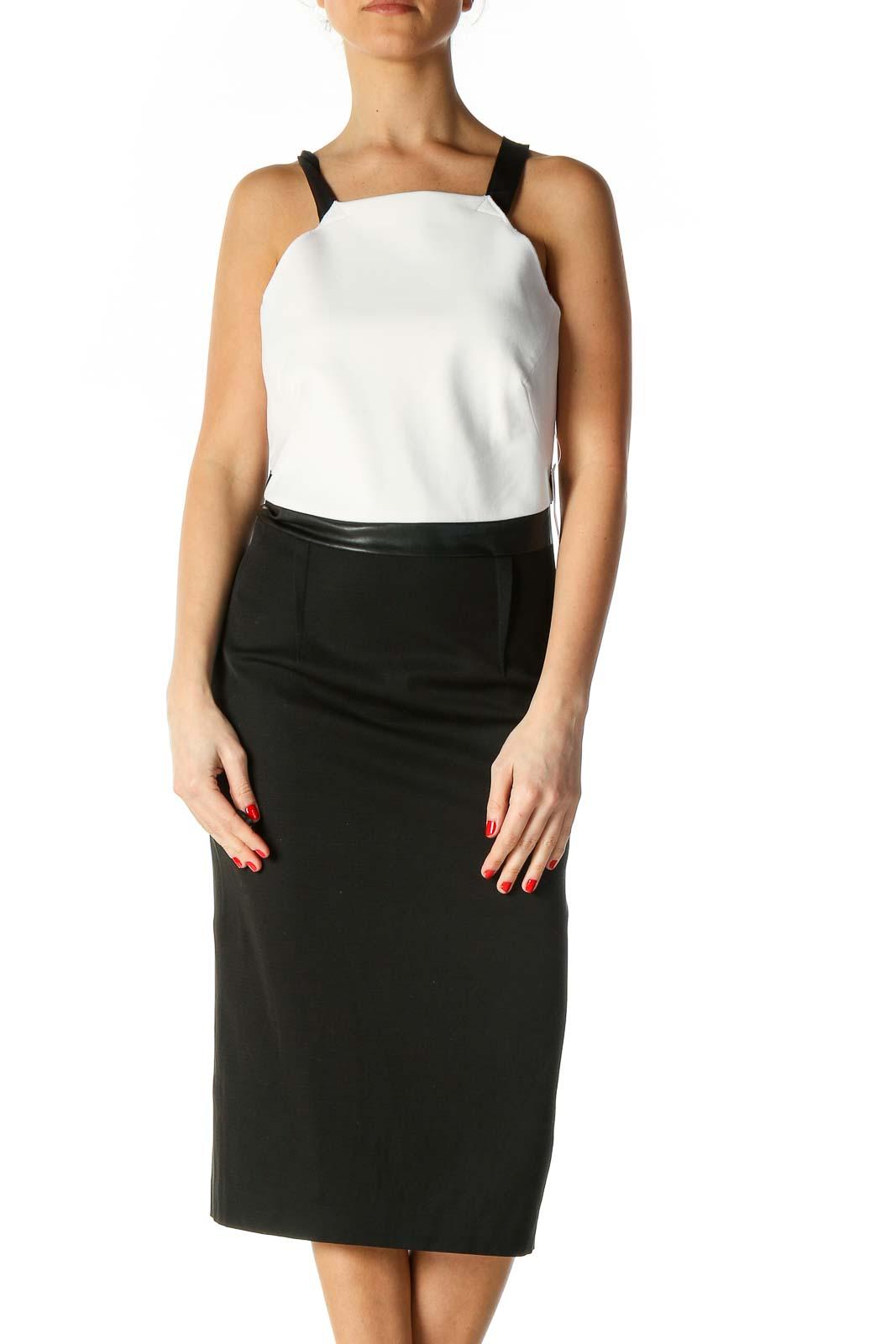 Black Color Block Classic Dress Front