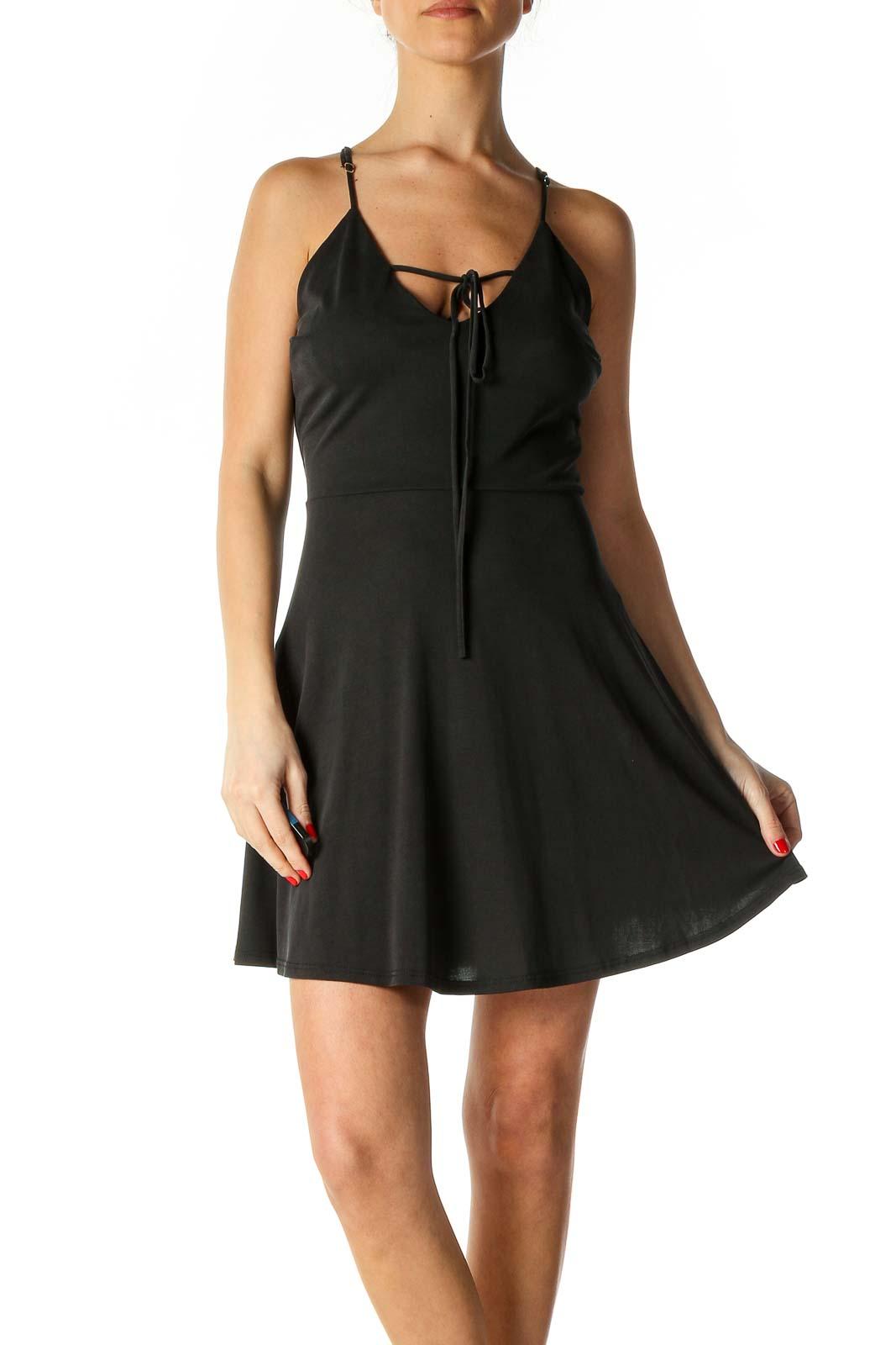 Black Solid A-Line Dress Front