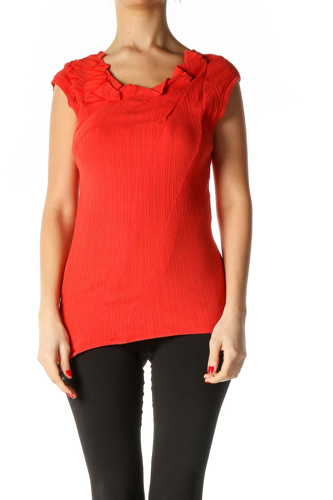 Red Textured Casual Blouse Front