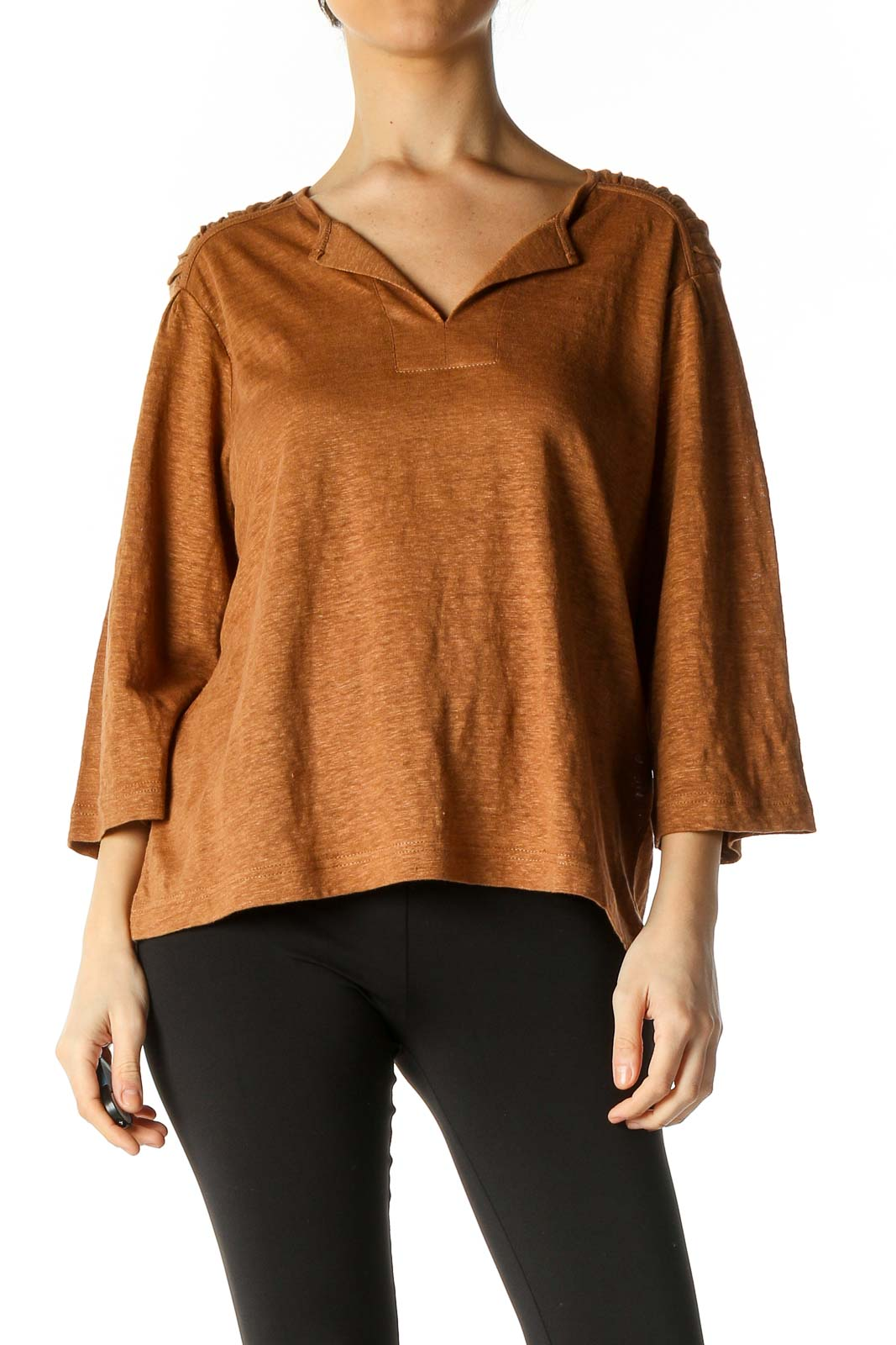 Orange Solid Casual Blouse Front