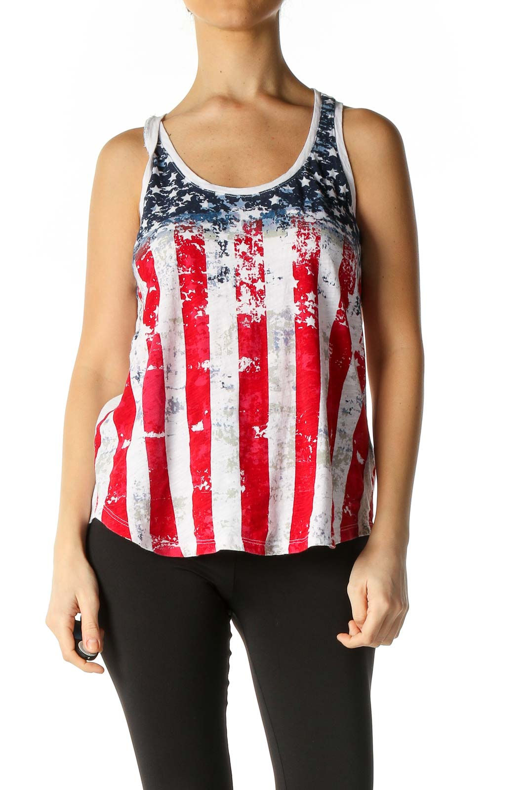 Red Graphic Print Bohemian Tank Top Front