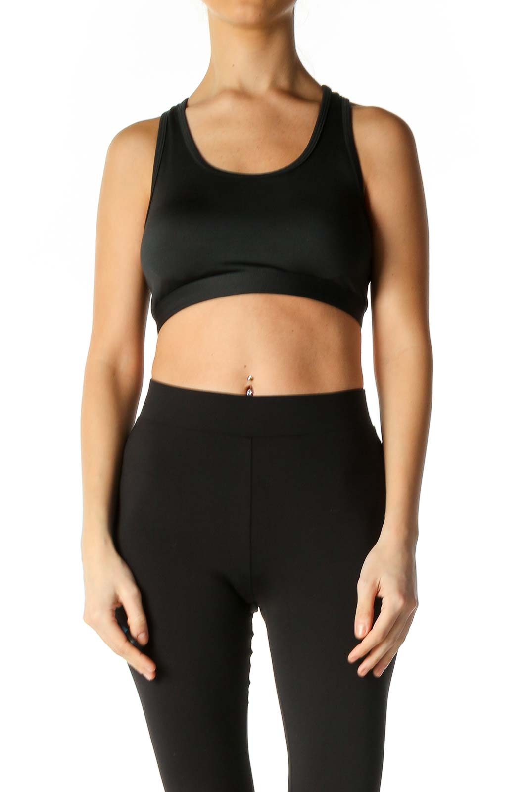 Black Solid Sports Bra Front