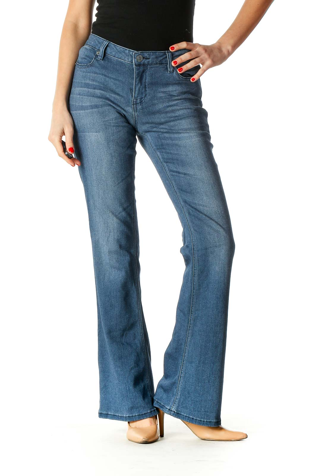 Blue Casual Bootcut Jeans Front