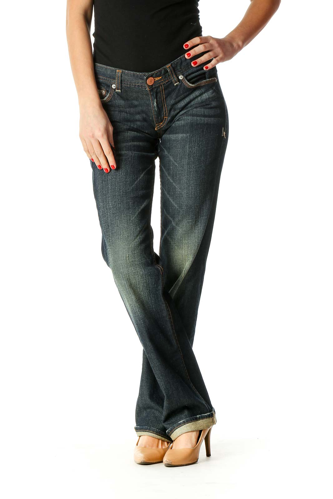Blue Bootcut Jeans Front