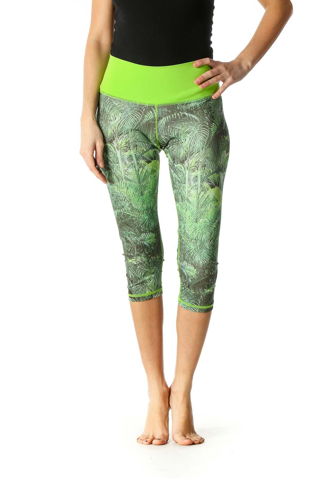 Green Casual Skinny Leggings Front