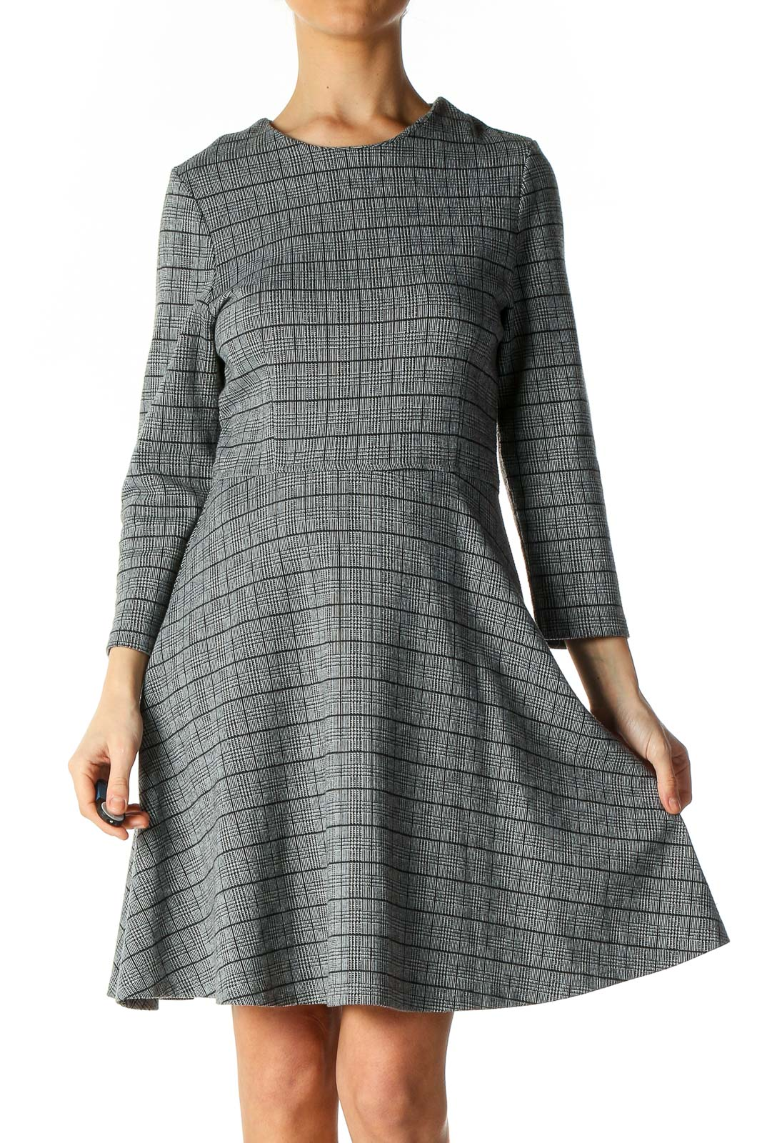Gray Textured Holiday A-Line Dress Front