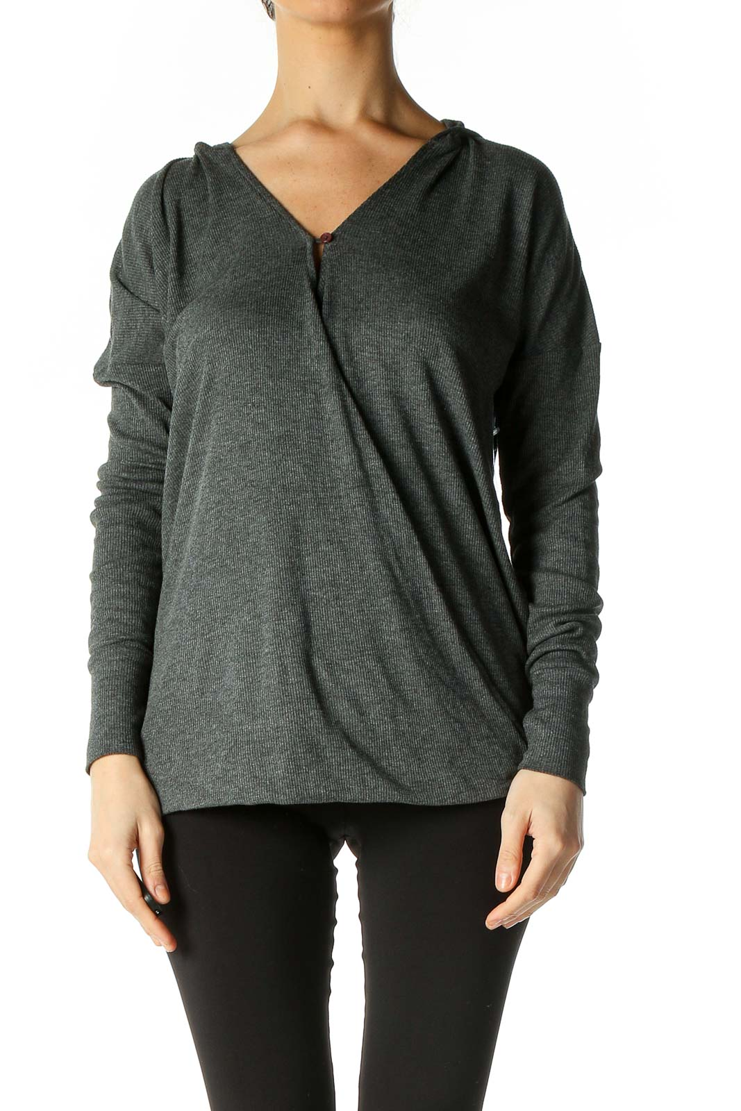 Gray Textured Casual Blouse Front