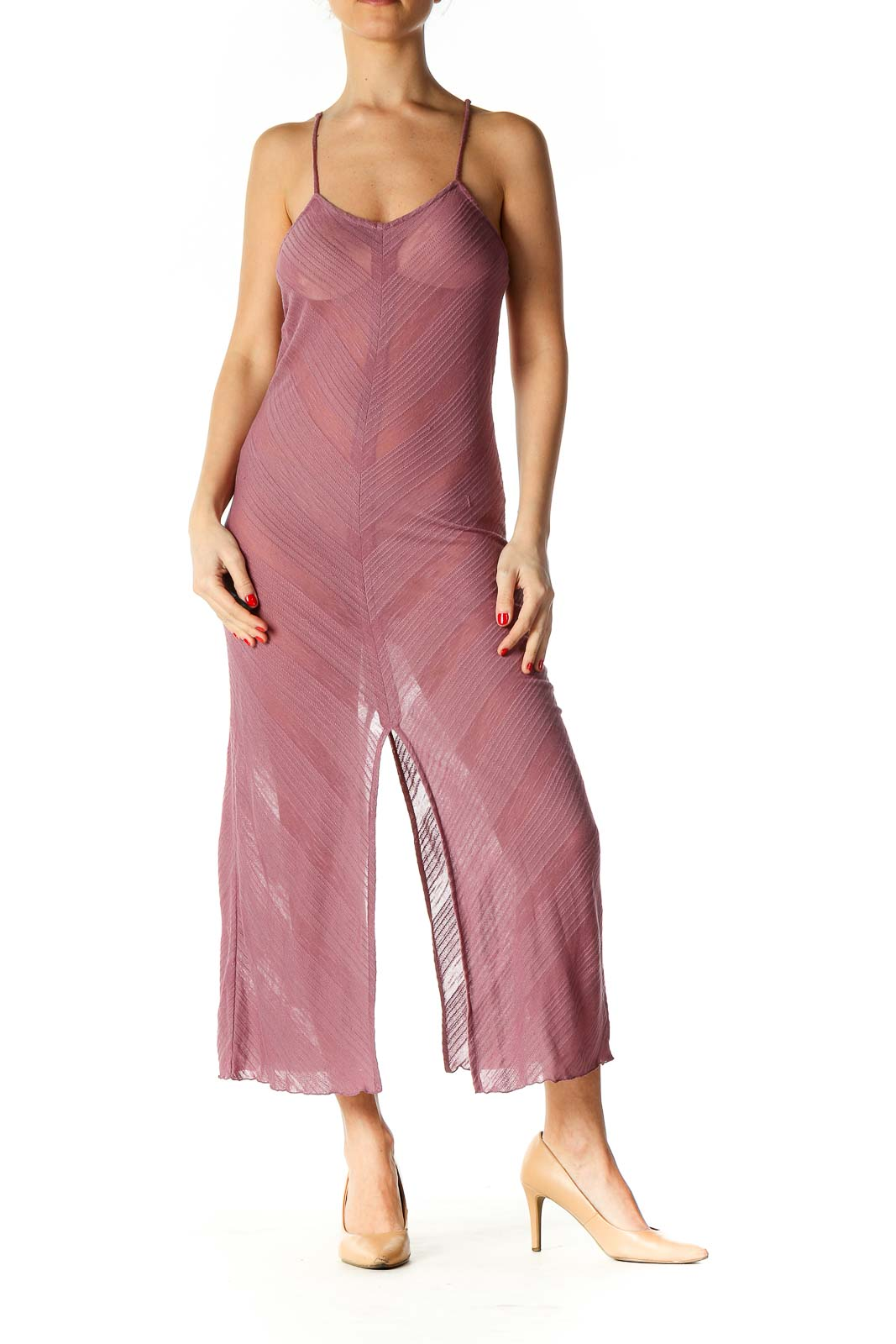 Pink Solid Holiday Dress Front