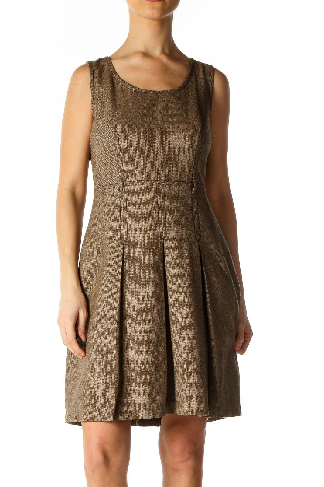 Brown Bohemian A-Line Dress Front