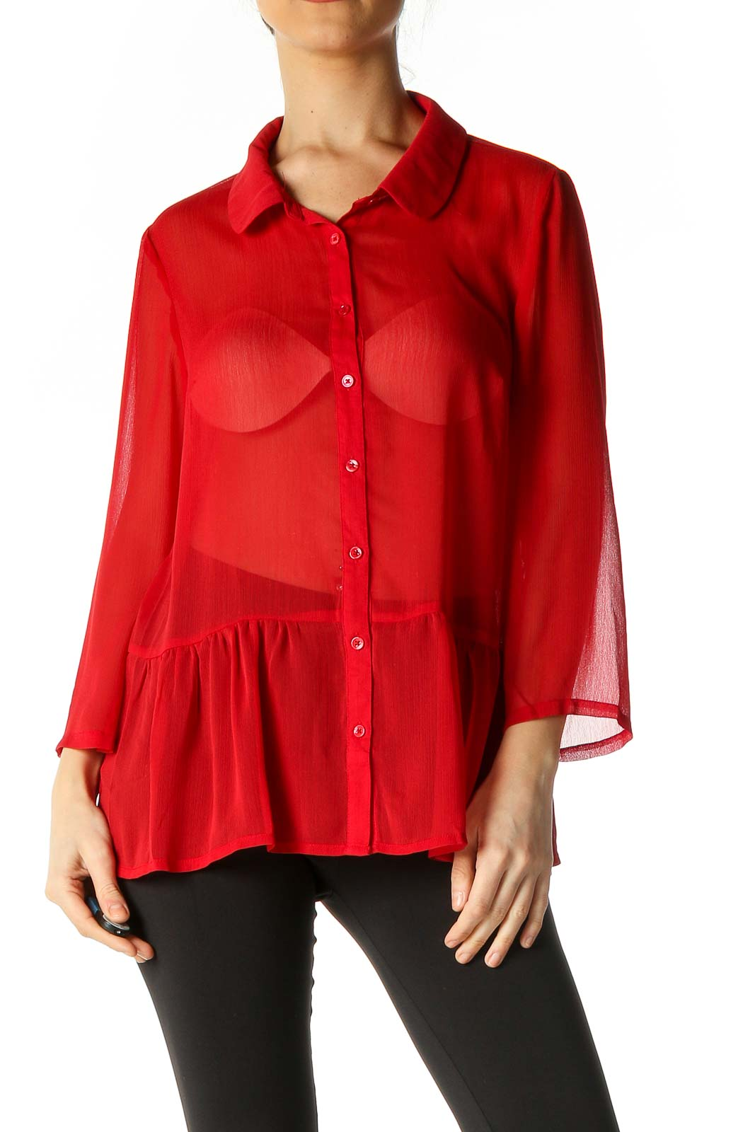 Red Solid Shirt Front